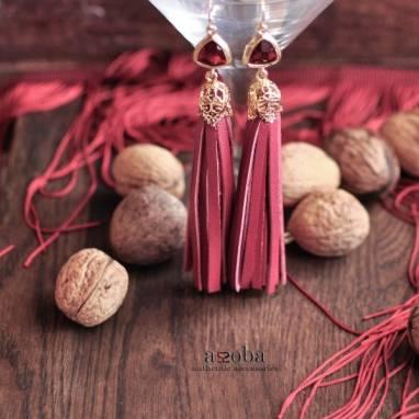 серьги-кисточки из натуральной кожи ручной работы