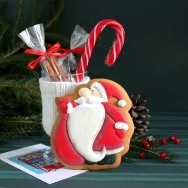 Пряник новогодний Дед Мороз большой ручной работы