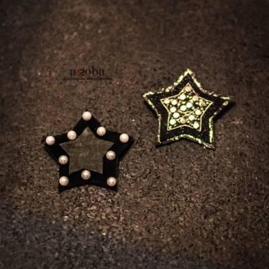 брошь Звезда из натуральной кожи ручной работы
