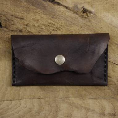 Прямоугольная кожаная монетница ручной работы