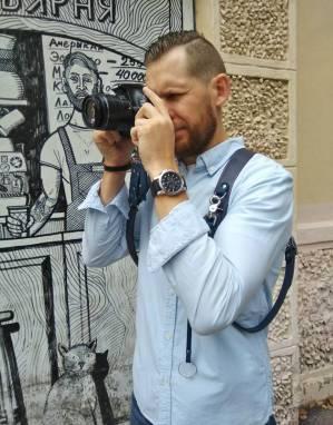 Разгрузка фотографа кожаная на 2 камеры (blue) ручной работы