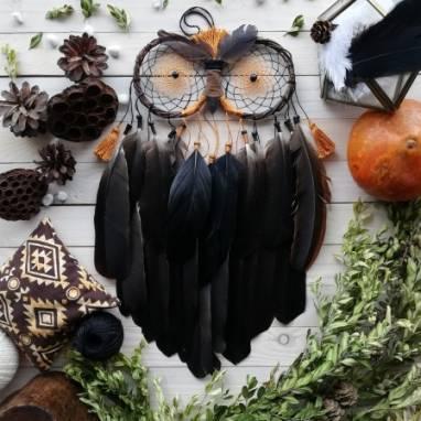 Ловец снов черная сова, Подарок мужчине, Подарок для парня, Украшение на стену, Декор для дома ручной работы
