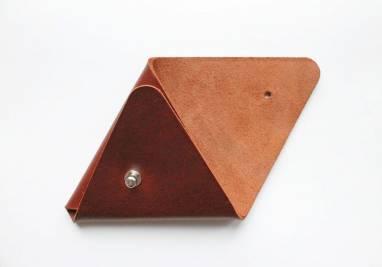 Монетница кожаная (walnut) ручной работы