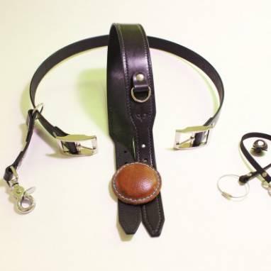 Разгрузка фотографа кожаная на 1 камеру (black) ручной работы