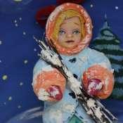 Игрушка новогодняя  из ваты. Девочка с хворостом