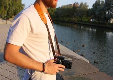 Ремень для фотокамеры кожаный (desert tan_2) ручной работы