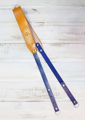 Ремень для фотокамеры кожаный (yellow-blue) ручной работы