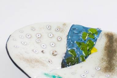 """Тарелка из стекла """"Воспоминания о море"""" фьюзинг ручной работы"""