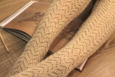 Гольфы вязанные ажурные длинные ручной работы