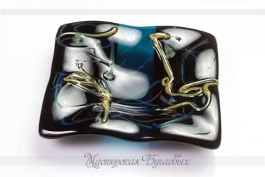 """Квадратная маленькая тарелка из стекла """"Ночь"""" фьюзинг ручной работы"""