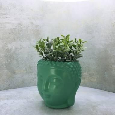 Зеленое кашпо голова Будды ручной работы