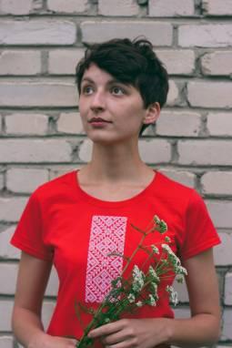 """Женская футболка вышиванка """"Каласы"""" ручной работы"""