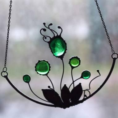 Колье в технике Тиффани с цветами ручной работы