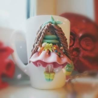Кружка с декором из глины Эмми