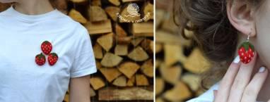 Брошки и сережки в виде клубничек ручной работы