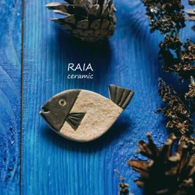 Брошка рыбка керамическая ручной работы