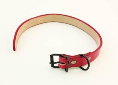 Ошейник кожаный (Red, BH) ручной работы