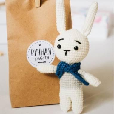 Вязаная игрушка заяц Верни ручной работы