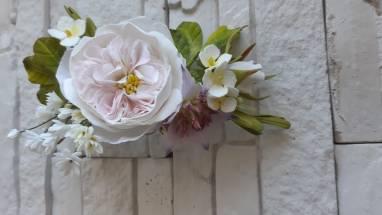 Заколка , ветка в волосыс розой ручной работы