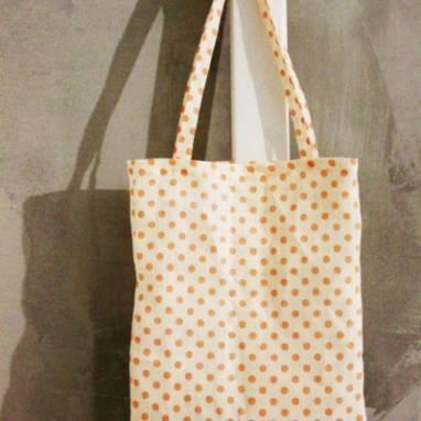 Льняная сумка в горошек ручной работы