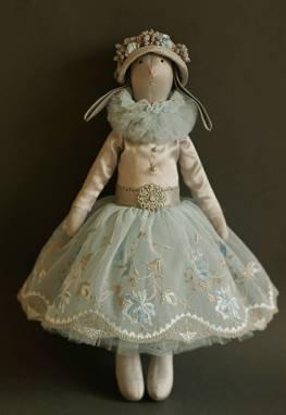 Заяц текстильный голубой ручной работы