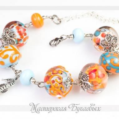 """Браслет из стекла """"Оранжево-голубая весна"""" lampwork(лампворк) ручной работы"""