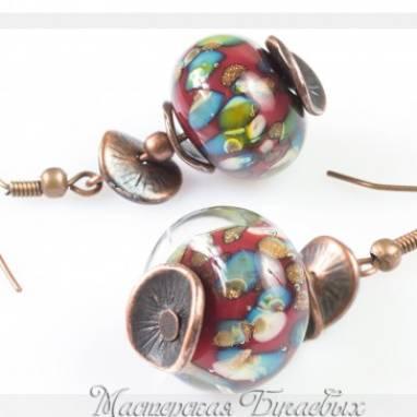 """Серьги из стекла """"Осеннее настроение"""" lampwork(лампворк) ручной работы"""