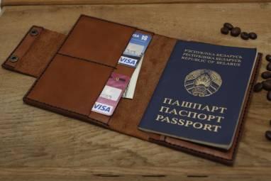 Обложка для паспорта и документов из натуральной кожи ручной работы