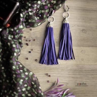 фиолетовые серьги-кисти из кожи ручной работы