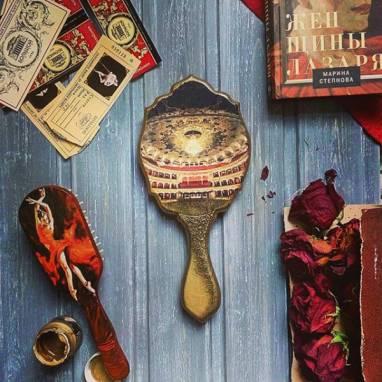Зеркало ручное + Расческа деревянная для волос ручной работы