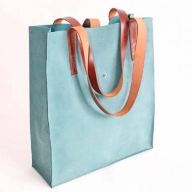 Сумка кожаная шоппер Eva (aquamarine) ручной работы