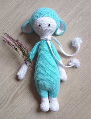 Мягкая игрушка зайка голубого цвета ручной работы