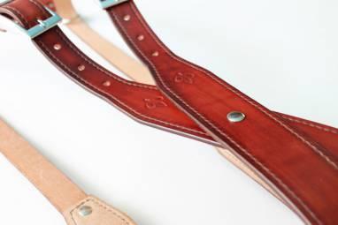 Разгрузка фотографа кожаная на 2 камеры (mahogany) ручной работы