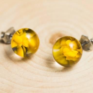 """Серьги из стекла """"Солнечный цветок"""" lampwork(лампворк) ручной работы"""