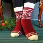 Новогодние носки вязанные