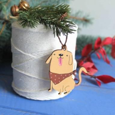 """игрушка на елку """"собачка"""" символ этого года ручной работы"""