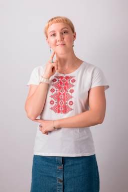 "Женская футболка вышиванка ""Прыгажосць"" ручной работы"