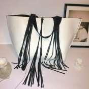 кожаная сумка с бахрамой