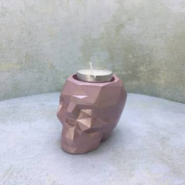 Органайзер полигональный череп розовый металл ручной работы