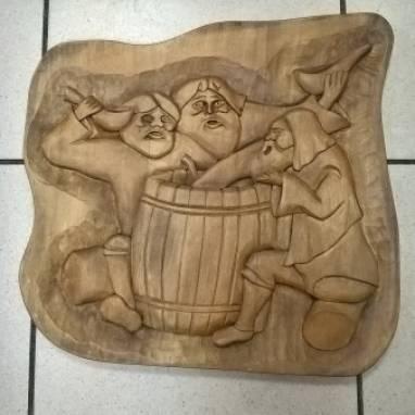 """Деревянная картина. вырезанная вручную, -  """"Деды-бражники"""" ручной работы"""
