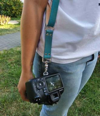 Разгрузка фотографа кожаная на 2 камеры (turquoise) soft ручной работы