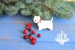 Подарок с вином и белой собакой