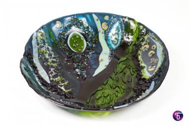 """Тарелка из стекла """"Лесное озеро"""" фьюзинг ручной работы"""