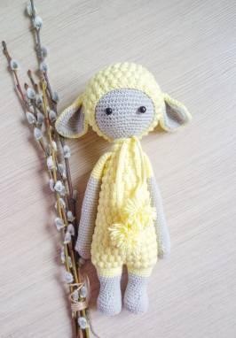 Мягкая игрушка желтая овечка ручной работы