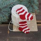 носочки вязанные, игрушка на елку, сувенир