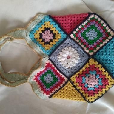 пляжная сумка в стиле бабушкин квадрат ручной работы