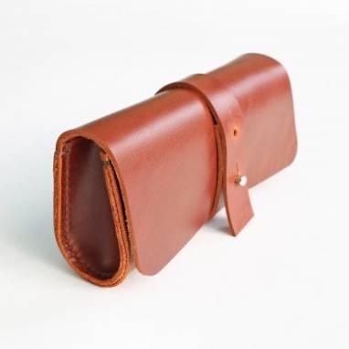 Футляр для очков кожаный (cognac) ручной работы