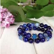 комплект браслетов из тонированного синего агата