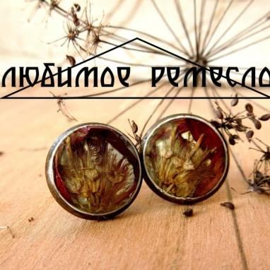 Сережки-гвоздики с гербарием под эпоксидной смолой ручной работы