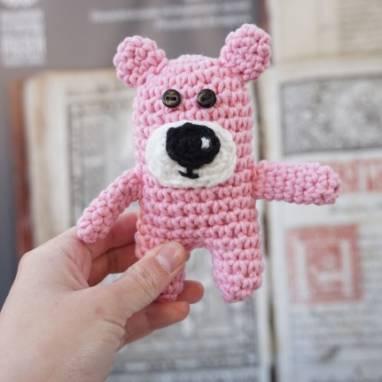 Мягкая игрушка розовый медвежонок ручной работы